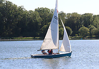 As temperatures hit 27 degrees C - the hottest day of the year in the UK so far - People go sailing on Priory Country Park lake as restrictions on forms of exercise are eased during the COVID 19 Lockdown. Priory Park, UK. May 20th 2020<br /> CAP/ROS<br /> ©ROS/Capital Pictures