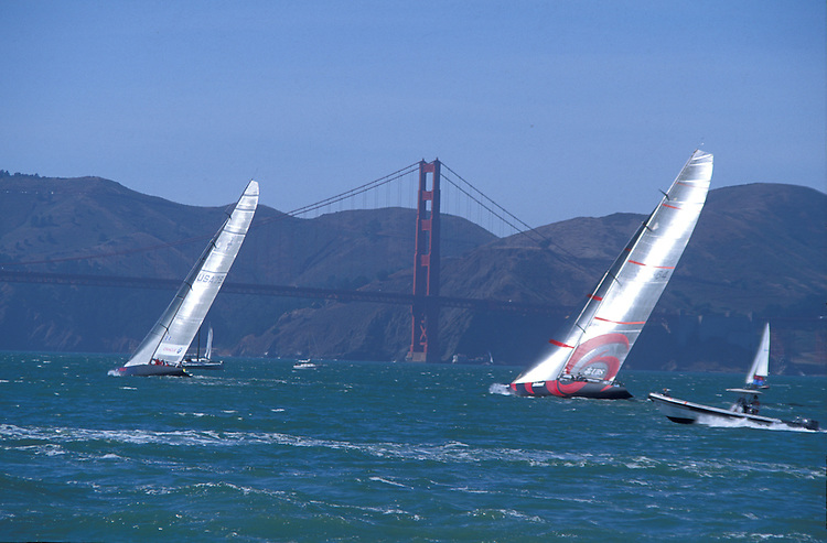 America's cup yachts racing on San Francisco Bay, California