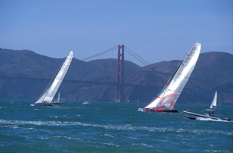 America's cup yachts racing on San Francisco Bay, California