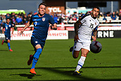 February 2nd 2019, San Jose, California, USA; USA defender Corey Baird (7) races Costa Rica defender Francisco Calvo (15) for the ball during the international friendly match between USA and Costa Rica at Avaya Stadium on February 2, 2019 in San Jose CA.