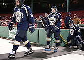 Joseph Horak (Trinity - 20), Ethan Holdaway (Trinity - 22), Liam McKillop (Trinity - 23) - The Williams College Ephs defeated the Trinity College Bantams 4-2 (EN) on Tuesday, January 7, 2014, at Fenway Park in Boston, Massachusetts.