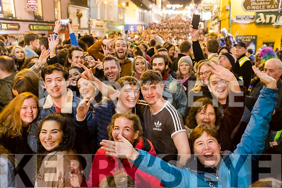 The crowd celebrating the New Year in Dingle.