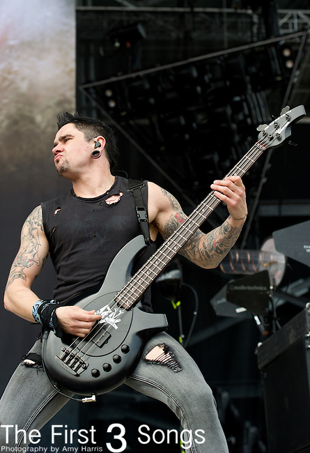 Jason James of Bullet for My Valentine performs during the 2013 Rock On The Range festival at Columbus Crew Stadium in Columbus, Ohio.