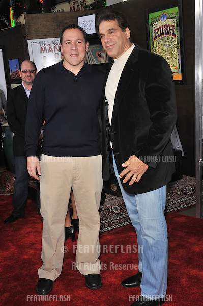 "Jon Favreau (left) & Lou Ferrigno at the Los Angeles premiere of their new movie ""I Love You, Man"" at the Mann's Village Theatre, Westwood..March 17, 2009  Los Angeles, CA.Picture: Paul Smith / Featureflash"