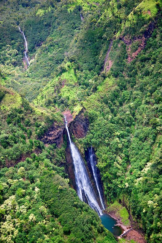 Manawaiopuna Falls from the Movie Jurasic Park. Kauai, Hawaii.