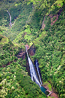 Manawaiopuna Falls from the Movie Jurasic Park. Kauai, Hawaii.