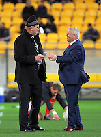 Former Waikato teammates Brent Anderson (NZ Rugby) and Warren Gatland (Wales coach) catch up before the Steinlager Series rugby union match between the New Zealand All Blacks and Wales at Westpac Stadium, Wellington, New Zealand on Saturday, 18 June 2016. Photo: Dave Lintott / lintottphoto.co.nz