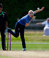 Megan Belt bowls for Kent during the Women's Royal London County Championship game between Kent ladies and Lancashire ladies at the County Ground, Beckenham, on May 7, 2018