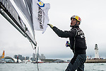 Competitors in action during Day 2 of Act 3 Extreme Sailing Series Qingdao 2015 at Qingdao International Sailing Centre on May 1, 2015 in Qingdao, China. Photo by Xaume Olleros / Power Sport Images