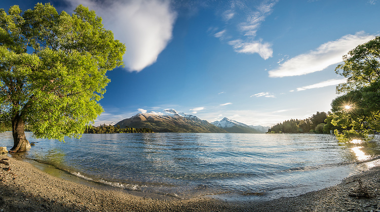 Walter and Cecil Peaks, seen from Frankton Waterfront, Lake Wakatipu, Queenstown, New Zealand - stock photo, canvas, fine art print