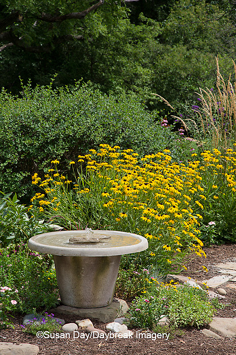 63821-23015 Bird bath in flower garden, Marion Co., IL