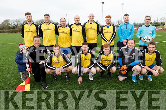 The team that lined out for the Timmy O'Brien Memorial Cup soccer game in the KDL on Saturday.  Kneeling l to r: Chris Daly, Fred Bowles, Michael Prenderville, Alan O'Donoghue, Colin O'Brien, Pat Comerford<br /> Standing l to r:Jack and Cian Daly, David Hanafin, Kenneth Leahy, Gary Lynch, Pa McElligott, Simon O'Brien, Jordan Daly, Kieran Daly