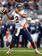 November 2, 2013  (State College, Pennsylvania)  Quarterback Nathan Scheelhaase #2 of the Illinois Fighting Illini throws the ball against the Penn State Nittany Lions Nov. 2, 2013.  Penn State won in OT 24-17. (Photo by Don Baxter/Media Images International)