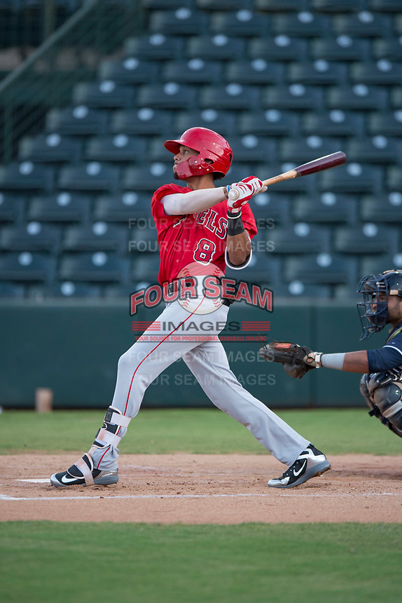 AZL Angels shortstop Jeremiah Jackson (8) follows through on his swing during an Arizona League game against the AZL Padres 2 at Tempe Diablo Stadium on July 18, 2018 in Tempe, Arizona. The AZL Padres 2 defeated the AZL Angels 8-1. (Zachary Lucy/Four Seam Images)