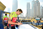 Filippo &quot;Pippo&quot; Pozzato (ITA) Wilier Triestina&ndash;Selle Italia at sign on before the start of Stage 2 The  Ras Al Khaimah Stage of the Dubai Tour 2018 the Dubai Tour&rsquo;s 5th edition, running 190km from Skydive Dubai to Ras Al Khaimah, Dubai, United Arab Emirates. 7th February 2018.<br /> Picture: LaPresse/Massimo Paolone | Cyclefile<br /> <br /> <br /> All photos usage must carry mandatory copyright credit (&copy; Cyclefile | LaPresse/Massimo Paolone)