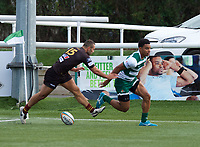 Reon Joseph of Ealing Trailfinders scores a try during the RFU Championship Cup match between Ealing Trailfinders and Ampthill RUFC at Castle Bar , West Ealing , England  on 28 September 2019. Photo by Alan  Stanford / PRiME Media Images