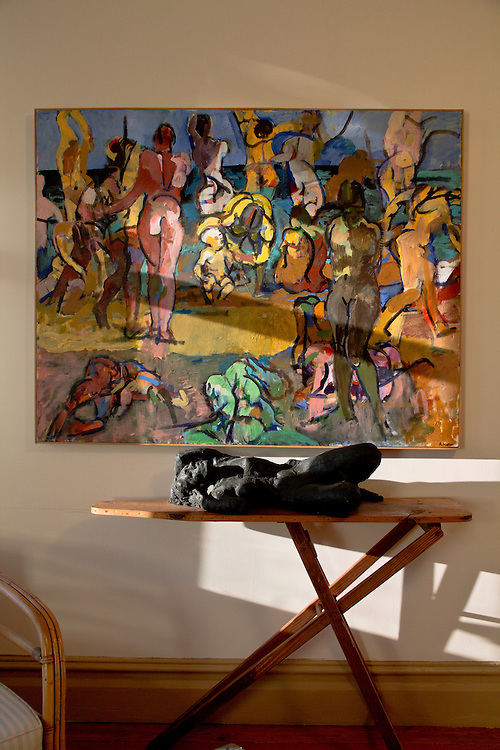 Port Townsend, Gallery Andrew Martin, Sculpture: Man with Weight on One leg, Painting: Bathers with Child, An art museum devoted to the mid-20th century artist Andrew Martin housed in an 1889 Victorian mansion in Port Townsend's Uptown neighborhood, Jefferson County, Olympic Peninsula, Washington State,
