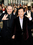 "HOLLYWOOD, CA. - April 30: Brad Altman and actor George Takei arrive at the Los Angeles premiere of ""Star Trek"" at the Grauman's Chinese Theater on April 30, 2009 in Hollywood, California."