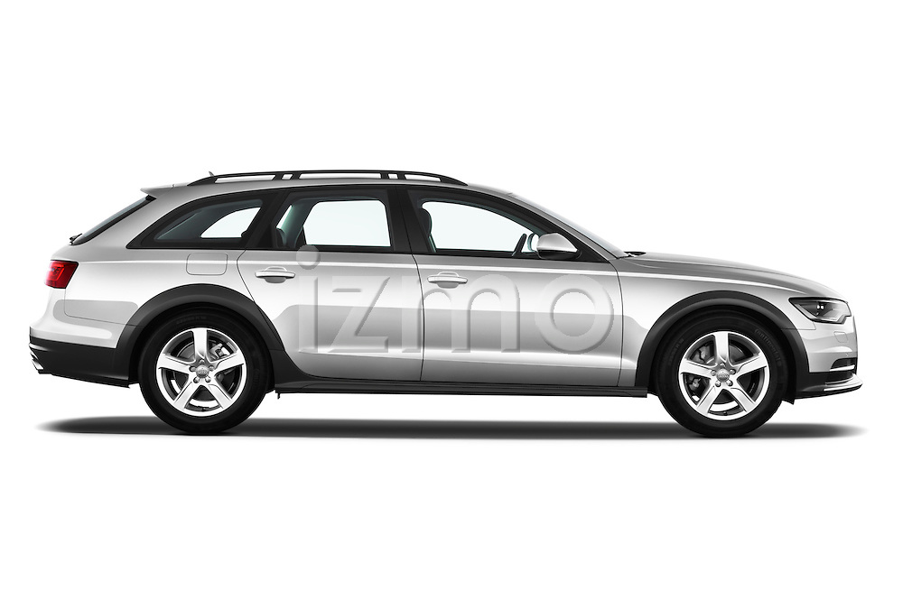 Passenger side profile view of a 2013 Audi A6 Allroad Quattro Wagon.