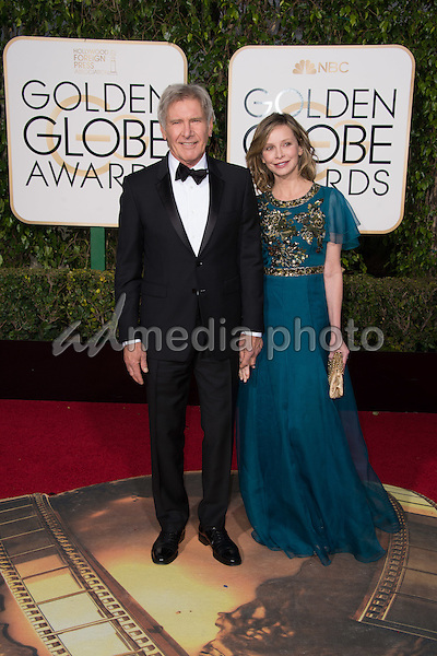 Harrison Ford, presenter, and Calista Flockhart, actress, arrive at the 73rd Annual Golden Globe Awards at the Beverly Hilton in Beverly Hills, CA on Sunday, January 10, 2016. Photo Credit: HFPA/AdMedia