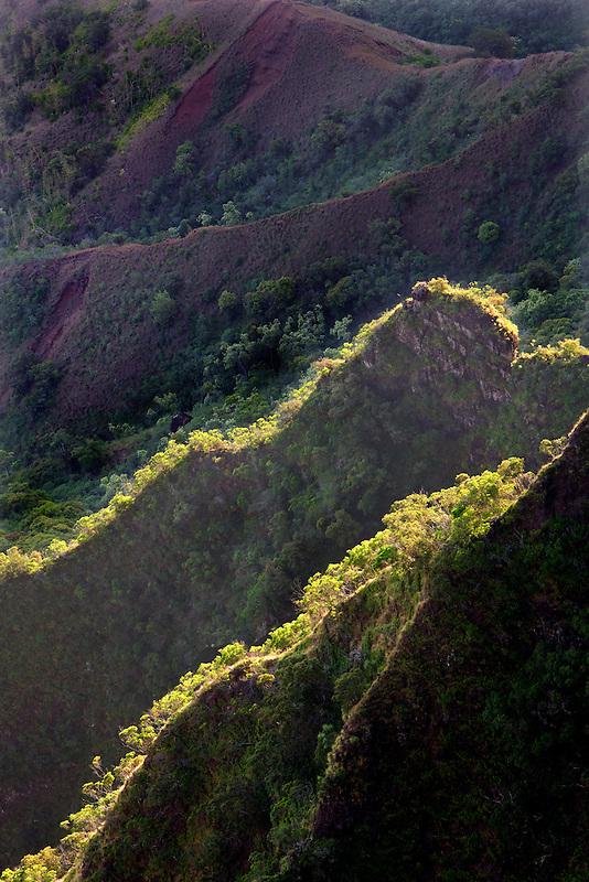 View of knife edged ridges in Kalalau Valley with ocean. Kauai, Hawaii