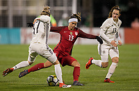 Columbus, Ohio - Thursday March 01, 2018: Verena Faißt, Alex Morgan during a 2018 SheBelieves Cup match between the women's national teams of the United States (USA) and Germany (GER) at MAPFRE Stadium.