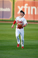 Peoria Chiefs right fielder Bryce Denton (33) tracks a fly ball during a game against the West Michigan Whitecaps on May 9, 2017 at Dozer Park in Peoria, Illinois.  Peoria defeated West Michigan 3-1.  (Mike Janes/Four Seam Images)