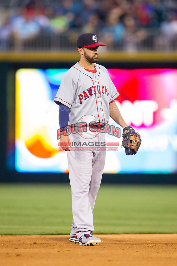 Pawtucket Red Sox shortstop Deven Marrero (29) on defense against the Charlotte Knights at BB&T Ballpark on August 9, 2014 in Charlotte, North Carolina.  The Red Sox defeated the Knights  5-2.  (Brian Westerholt/Four Seam Images)