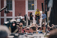 yellow jersey / GC leader Greg Van Avermaet (BEL/BMC) coming off the sign-on podium<br /> <br /> Stage 9: Arras Citadelle &gt; Roubaix (154km)<br /> <br /> 105th Tour de France 2018<br /> &copy;kramon