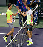 BERNARD TOMIC (AUS), THANASI KOKKINAKIS (AUS)<br /> <br /> Tennis - BNP PARIBAS OPEN 2015 - Indian Wells - ATP 1000 - WTA Premier -  Indian Wells Tennis Garden  - United States of America - 2015<br /> &copy; AMN IMAGES