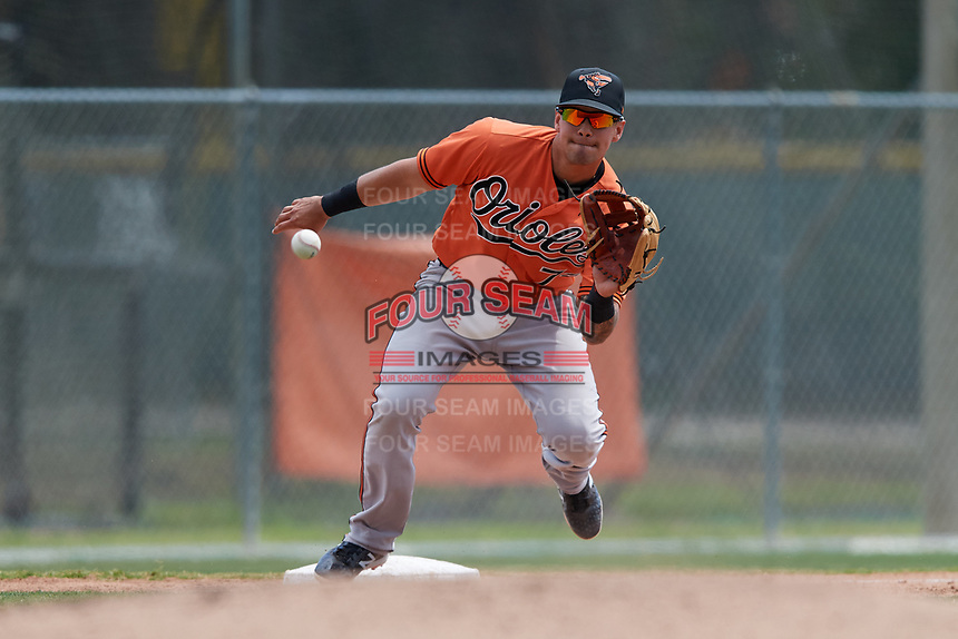 Baltimore Orioles Alejandro Juvier (75) during a Minor League Spring Training game against the Boston Red Sox on March 20, 2018 at Buck O'Neil Complex in Sarasota, Florida.  (Mike Janes/Four Seam Images)