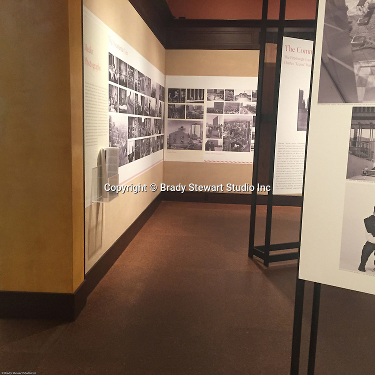 Pittsburgh PA:  View of the architectural view area of the Imaging for Modern exhibition inside the Carnegie Museum of Art - 2015. The museum selected over 40 photographs out of the 300 submitted for the exhibition.  Photographs from the Brady Stewart Archives were used in the exhibition about Pittsburgh's architectural evolution 1945-1970.<br />