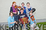 CHAMPION: Champion accordion player Michael Dillane (Sliabh Luachra) getting all the best from fellow musicans on Saturday after he top the winning in according playing Front  L-r: Aoife Enright (Lixnaw), Michael Dillane (Sliabh Luachra) and Alannah Kissane. Back l-r: Fionnuala Ni? Thrinigh, Aoife Mahony ands Fiona Hunt (Lixnaw)....