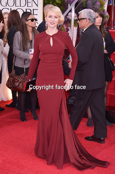 Naomi Watts arriving at the 70th Annual Golden Globe Awards held at The Beverly Hilton Hotel on January 13, 2013 in Beverly Hills, California...credit: face to face