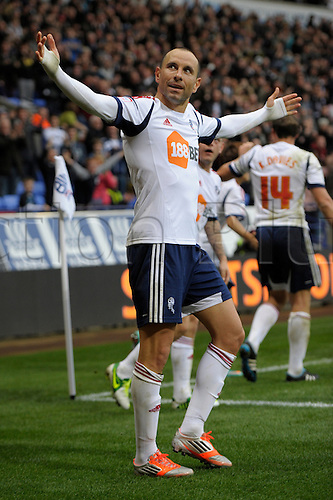 20.10.2012 Bolton, England.  Martin Petrov of Bolton celebrates after scoring the winning goal during the Championship game between Bolton Wanderers and Bristol City from the Reebok Stadium.