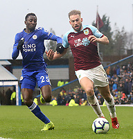 Burnley's Charlie Taylor under pressure from Leicester City's Wilfred Ndidi<br /> <br /> Photographer Rich Linley/CameraSport<br /> <br /> The Premier League - Burnley v Leicester City - Saturday 16th March 2019 - Turf Moor - Burnley<br /> <br /> World Copyright © 2019 CameraSport. All rights reserved. 43 Linden Ave. Countesthorpe. Leicester. England. LE8 5PG - Tel: +44 (0) 116 277 4147 - admin@camerasport.com - www.camerasport.com