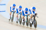 The team of Italy with Liam Bertazzo, Simone Consonni, Filippo Gonna and Francesco Lamon competes in the Men's Team Pursuit - Qualifying match as part of the Men's Team Pursuit - Qualifying match as part of the 2017 UCI Track Cycling World Championships on 12 April 2017, in Hong Kong Velodrome, Hong Kong, China. Photo by Victor Fraile / Power Sport Images