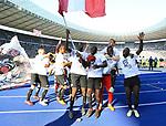 12.05.2018, OLympiastadion, Berlin, GER, 1.FBL, Hertha BSC VS. RB Leipzig, im Bild <br /> Leipziger Spieler bei Ihren Fan<br /> <br /> <br />       <br /> Foto &copy; nordphoto / Engler