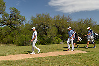 Si Woo Kim (KOR) and Billy Horschel (USA) head down 9 during Round 1 of the Valero Texas Open, AT&amp;T Oaks Course, TPC San Antonio, San Antonio, Texas, USA. 4/19/2018.<br /> Picture: Golffile | Ken Murray<br /> <br /> <br /> All photo usage must carry mandatory copyright credit (&copy; Golffile | Ken Murray)
