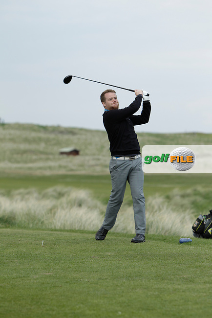 Kelan Quigg (City of Derry) on the 15th tee during round 2 of The West of Ireland Amateur Open in Co. Sligo Golf Club on Saturday 19th April 2014.<br /> Picture:  Thos Caffrey / www.golffile.ie