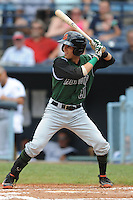 Augusta Green Jackets shortstop Bobby Haney #21 swings at a pitch during a game against the Asheville Tourists at McCormick Field on July 10, 2011 in Asheville, North Carolina.  Augusta won the game 10-2.   (Tony Farlow/Four Seam Images)