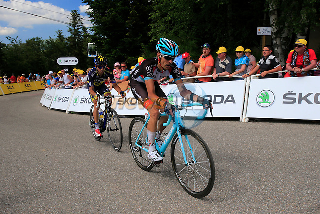 Andreas Kloden (GER) Radioshack Leopard Trek and Hernandez Blazquez (ESP) Team Saxo-Tinkoff approach the finish line at the end of Stage 8 of the 100th Edition of the Tour de France 2013 from Castres to Ax3 Domaines. 6th July 2013.<br /> (Photo: Eoin Clarke/ www.newsfile.ie)