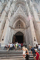 St. Patrick's Cathedral on Fifth Avenue in New York on Thursday, September 3, 2015. Pope Francis, the Holy Father, will pray at the Vespers Service in the Cathedral on Sept. 24th during his U.S. visit. As part of his New York itinerary he will visit Central Park and lead a mass at Madison Square Garden. The Pope will be in the U.S. from Sept. 22 visiting Washington DC, New York and Philadelphia.  (© Richard B. Levine)