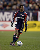 New England Revolution midfielder Sainey Nyassi (31). He scored a goal in his first game as a Revolution player. The New England Revolution defeated the Houston Dynamo 3-0 in their Major League Soccer home opener at Gillette Stadium in Foxborough, Massachusetts on March 29, 2008.