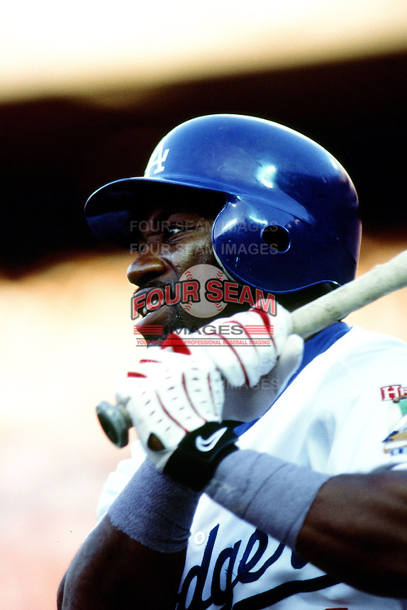 Eric Young of the Los Angeles Dodgers during a game at Dodger Stadium circa 1999 in Los Angeles, California. (Larry Goren/Four Seam Images)