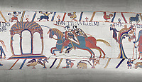 Bayeux Tapestry scene 11 :  Two messengers rush from William to Guy de Ponthieu with orders fro Harolds release.