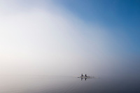 Varese, Lombardia, ITALY, General View, Varese Rowing Club, [Canottieri Varese] Double Scull,  moves into a low cloud of mist, Atmospheric,<br />