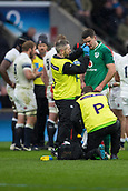 17th March 2018, Twickenham, London, England; NatWest Six Nations rugby, England versus Ireland; Jonathan Sexton of Ireland receives treatment for a bloody nose