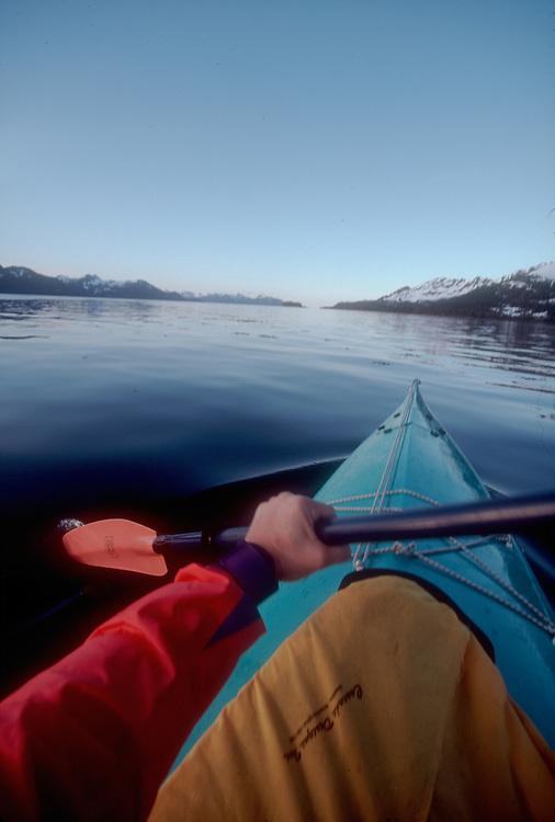 Sea kayaking, Alaska, Prince William Sound, Knight Island, Knight Island Passage, paddler's eye view,