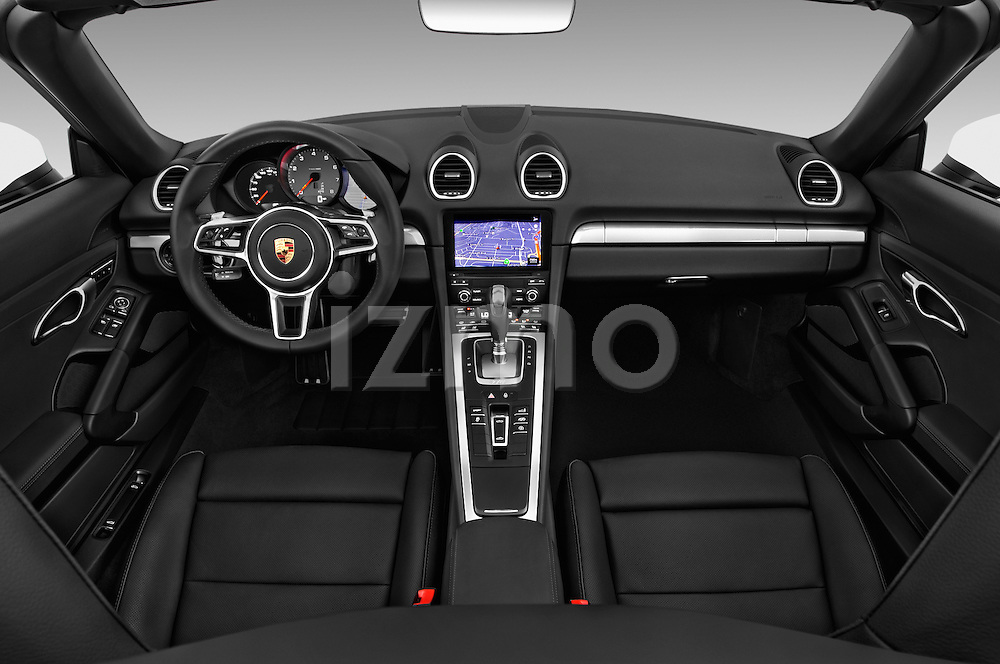 Stock photo of straight dashboard view of 2017 Porsche 718 Boxster-S 2 Door Convertible Dashboard